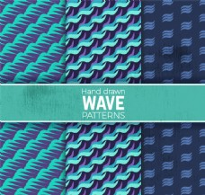 3款蓝色海浪无缝背景矢量素材