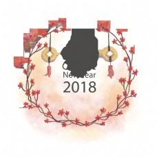 中国风格2018水墨新年矢量素材