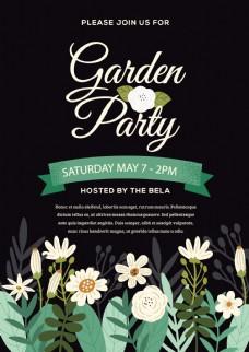 黑色春季英文花朵促销海报设计