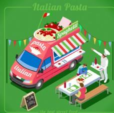 创意卡通意大利风情快餐车