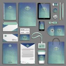 清新蓝色几何vi设计