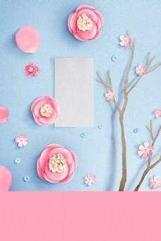 精致粉色质感春分背景