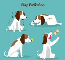 四种不同情况下卡通狗