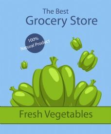 清新绿色蔬菜插画