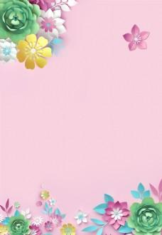 手绘扁平精致粉色春天背景