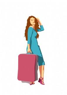 春分提行李箱的女人免扣元素