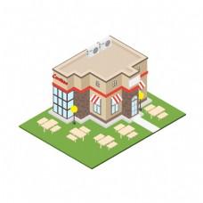 2D独栋快餐店矢量图片