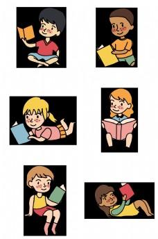 不同动作正在看书的学生