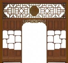 中式复古五福隔厅博古架
