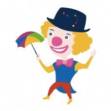 矢量玩雨伞的小丑矢量插画