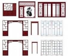 中欧各式复古红木博古架隔厅柜推拉门