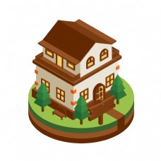 2D独栋别墅矢量图片