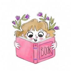 看书的小孩矢量素材