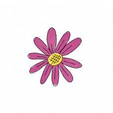 手绘紫色花朵黄色花蕊矢量素材