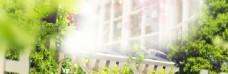 淘宝天猫春季女装绿色海报背景