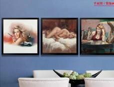 美女欧式油画卧室装饰画