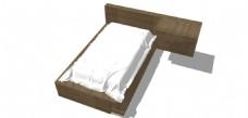 木纹单人床铺su模型效果图