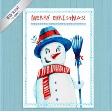 手繪圣誕雪人卡片