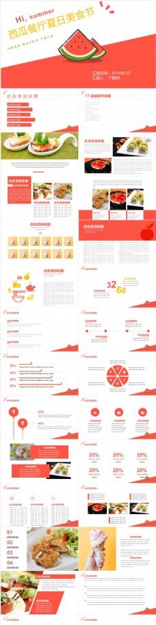 西瓜餐厅餐饮美食介绍美食相册ppt模板