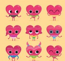 可爱表情爱心矢量素材