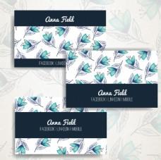 水彩花卉商务卡片