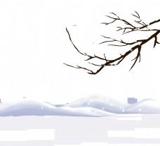 冬季雪中的远山和树枝PNG图