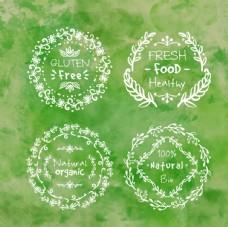 手绘绿色自然徽章