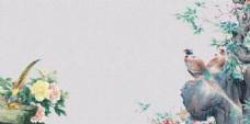 清新彩绘鸟语花香春季背景设计