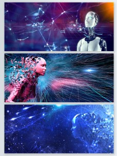 机器人粒子光效背景