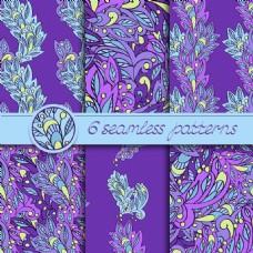 特色紫色民族花纹背景