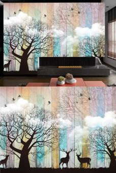 麋鹿现代背景客厅装饰壁纸图案