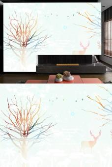 彩印树和麋鹿电视背景