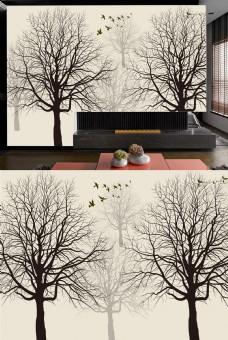 树简约背景简约装饰画