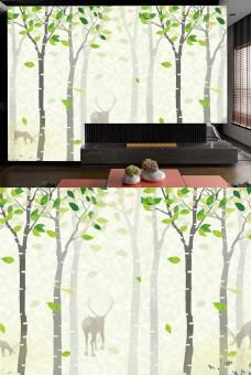 绿色树林装饰背景墙