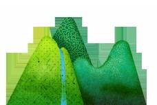 手绘卡通绿色远山装饰素材