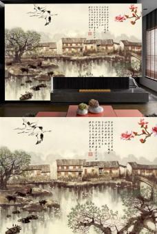 江南水乡水墨画电视墙壁画