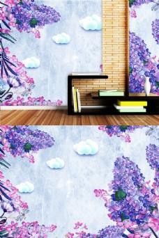 紫色花卉书房背景墙