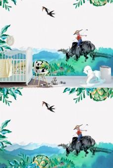 绿色儿童房水彩壁纸