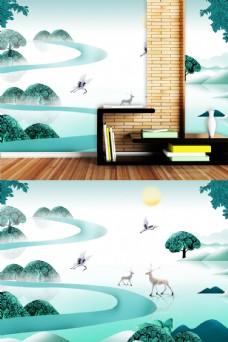 麋鹿风景中国风墙纸