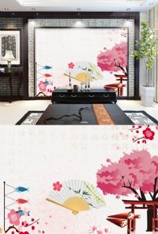 粉色花卉中国风背景墙