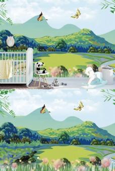 儿童房卡通风景壁纸